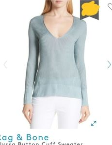 Rag and bone alyssa sea blue v neck  sweater